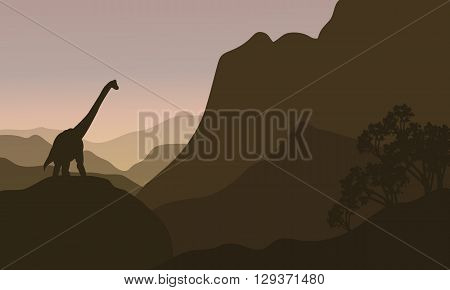 brachiosaurus in hills silhouette scenery at the afternoon
