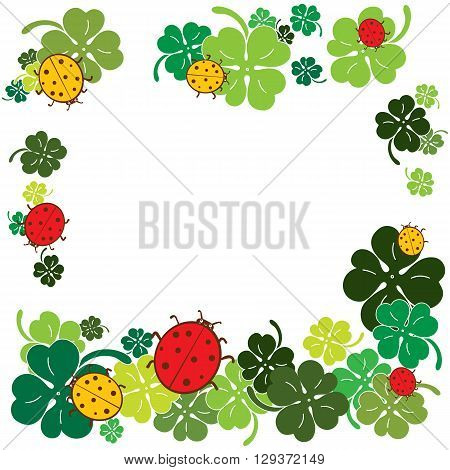 Ladybugs and clover  leaves charm frame. Flat style vector illustration.