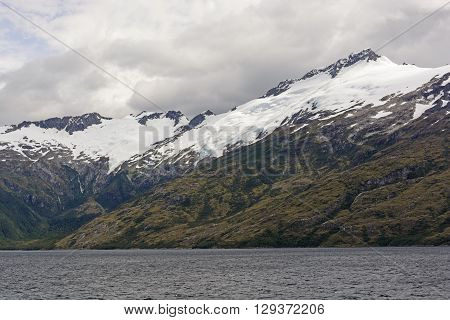 Ice and Snow on Remote Mountains in Tierra del Fuego