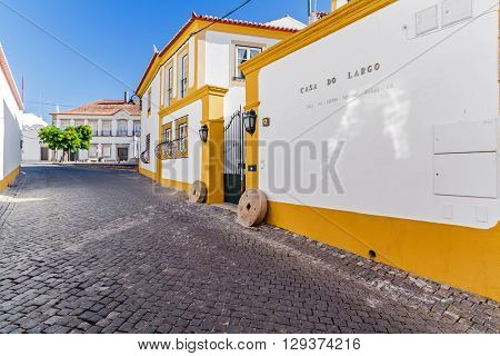Crato, Portugal. October 10, 2015: Casa do Largo, a Manor Guest House created in a traditional Alentejo house. Portalegre district, Alto Alentejo Region, Portugal.