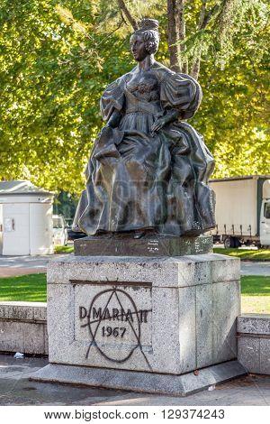 Vila Nova de Famalicao, Portugal.?? September 06, 2015: Queen Dona Maria II statue in Queen Dona Maria II Square. Vila Nova de Famalicao, Braga, Portugal