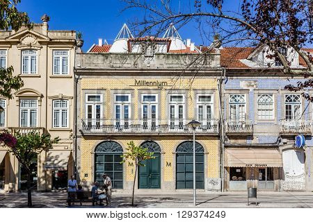 Vila Nova de Famalicao, Portugal. September 06, 2015: Millennium BCP Agency and old buildings of Vila Nova de Famalicao (Luis Barroso street/Dona Maria II Square). Braga,Portugal