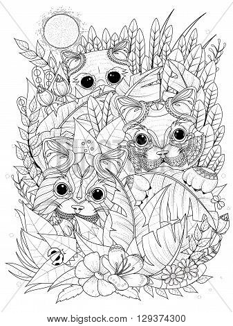 Wild Kitties Adult Coloring Page