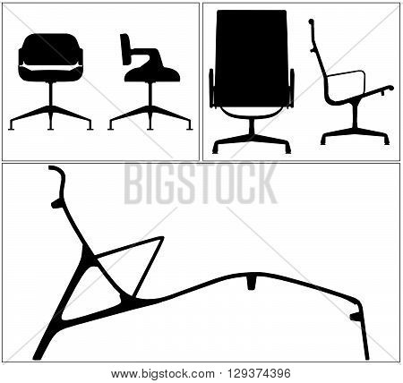 Modern Elegance Chairs Silhouette Isolated Illustration Vector