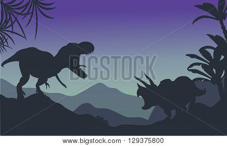 Silhouette of ankylosaurus and tyrannosaurus at the night