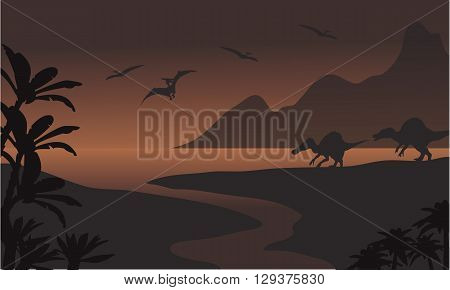 Silhouette of spinosaurus in riverbank and pterodactyl with brown backgrounds