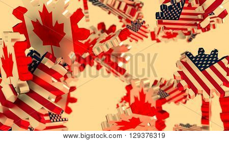 Image relative to politic and economic relationship between USA and Canada. National flags on flying cog wheels