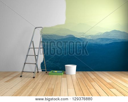 Repairs in room with painting of mountains on wall. 3D illustration.