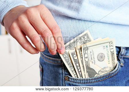 Money in the jeans pocket, close up