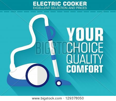 Flat Vacuum Cleaner With The Slogan On The Background With Long