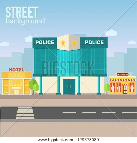 Police Building In City Space With Road On Flat Syle Background