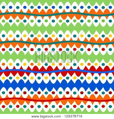 Abstract colorful striped and spotted seamless red blue green orange yellow white pattern