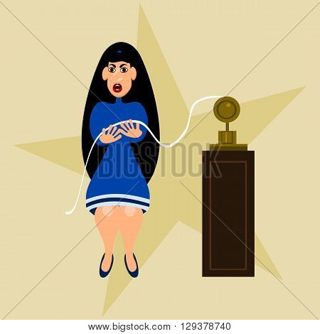 Black-haired girl in a blue dress indignantly viewing tape of the telegraph.