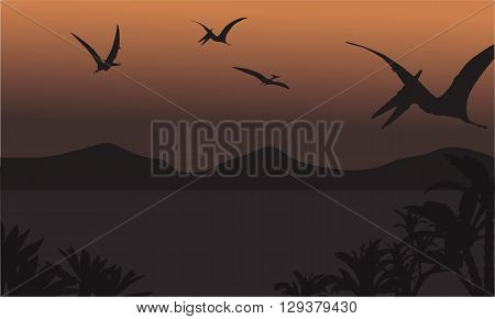 pterodactyl fly at the night scenery with brown backgrounds