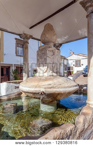 Close up of Fonte da Vila (Towns Fountain) in the Jewish Quarter of Castelo de Vide, Portalegre, Portugal. 16th century fountain.