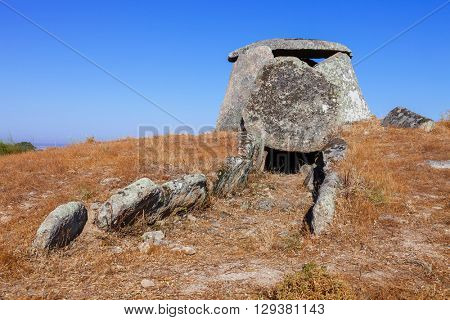 Ruins of the former underground entrance tunnel of the Tapadao dolmen in Crato, the second biggest in Portugal. Located in Aldeia da Mata, Crato.
