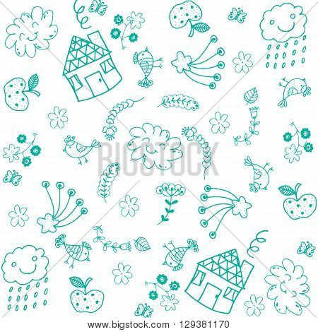 Doodle art for kids green with white backgrounds