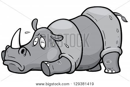 Vector illustration of Cartoon rhino in Hot Weather