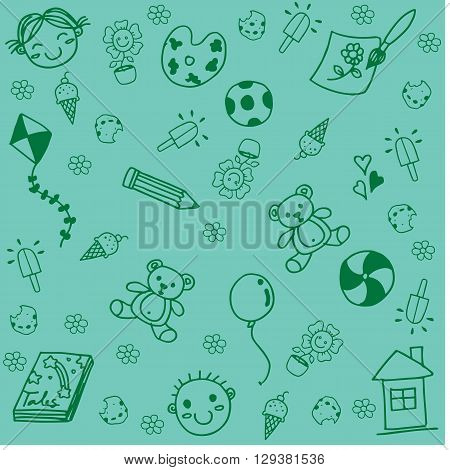 Toy for kids doodle art with green backgrounds