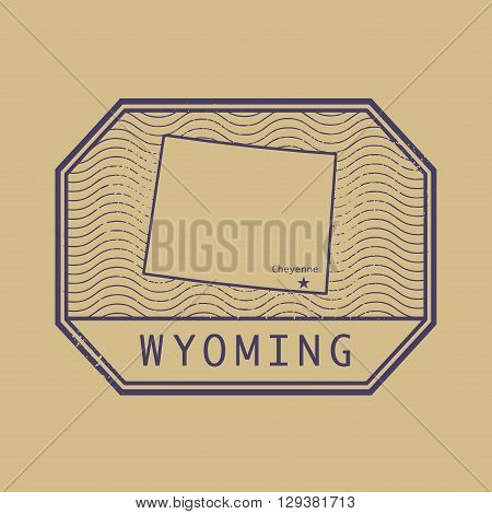 Stamp with the name and map of Wyoming, United States, vector illustration