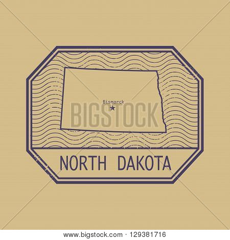 Stamp with the name and map of North Dakota, United States, vector illustration