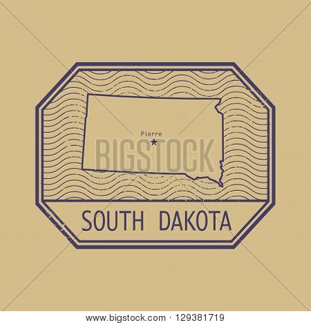 Stamp with the name and map of South Dakota, United States, vector illustration