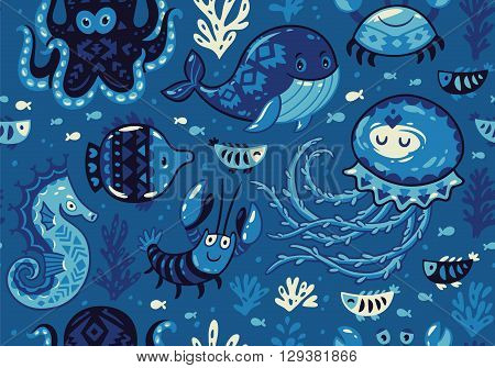 Sea seamless pattern with whale and jellyfish, fish and crab, seahorse and octopus on dark blue background. A colourful and playful print and pattern displaying a variety a sea creatures.