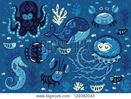 Sea poster with whale and jellyfish, fish and crab, seahorse and octopus on dark blue background. Unique marine design. Unique t-shirt or bag design, house warming poster, greeting card illustration.
