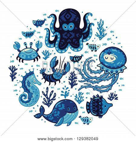 Round sea composition with whale, jellyfish, fish, crab, seahorse and octopus on white background. Hand drawn oceanic card template. Vector illustration