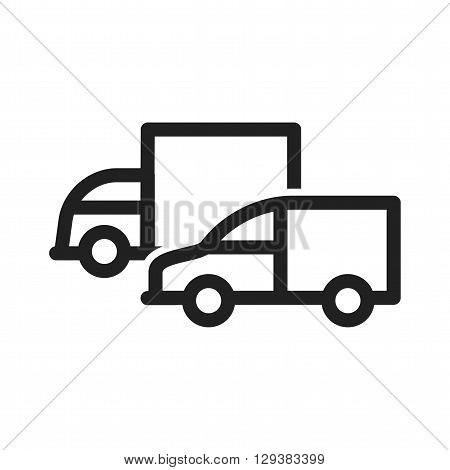 Fleet, trucks, parked icon vector image. Can also be used for logistics. Suitable for mobile apps, web apps and print media.