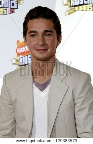 Shia Labeouf at the Nickelodeon's 20th Annual Kids' Choice Awards held at the Pauley Pavilion in Westwood, USA on March 31, 2007.