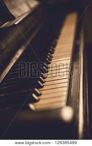 Part of the old piano in vintage style