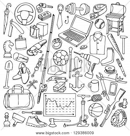 Vector illustration of mans hobby,  tools and objects