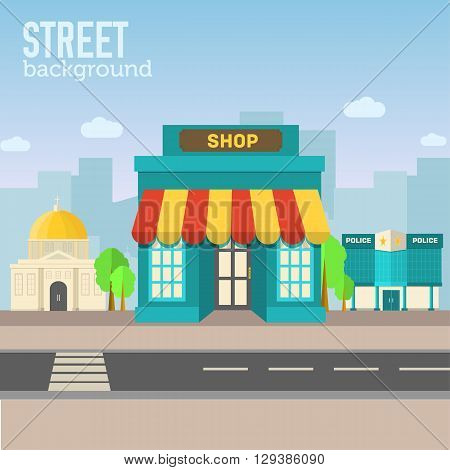 Shop Building In City Space With Road On Flat Syle Background Co