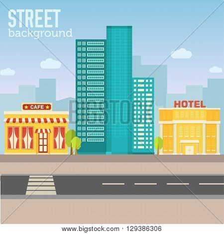 Hotel Building In City Space With Road On Flat Syle Background C