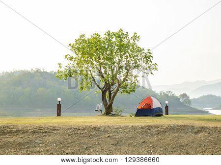 Camping weekend at Thailand. Kangkrajan barrage in summer.