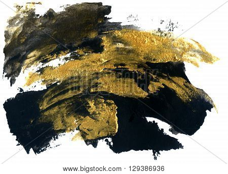 Abstract grunge texture. Golden and black stroke texture. Grunge background. Brushstroke waved painting with glitter. Paper with grunge texture. Hand painted illustration