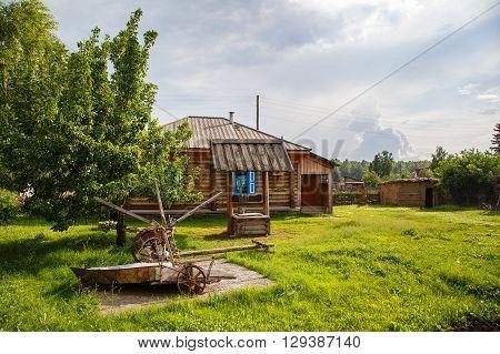 Vasily Shukshin's house in the village Srostki Siberia Altay summer sunny