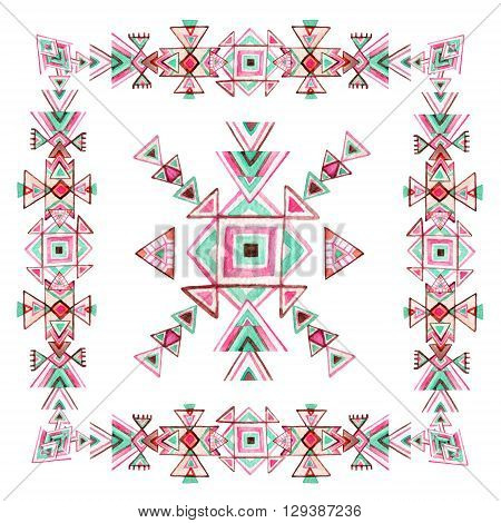 Watercolor tribal frame with ornate geometrical elements isolated on white background. Ethnic tribal design. Patterned elements in trendy tribal style.