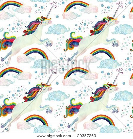 Watercolor fairy tale collection with flying unicorn rainbow magic clouds and rain on white background. Hand painted fairy tale elements for kids children design