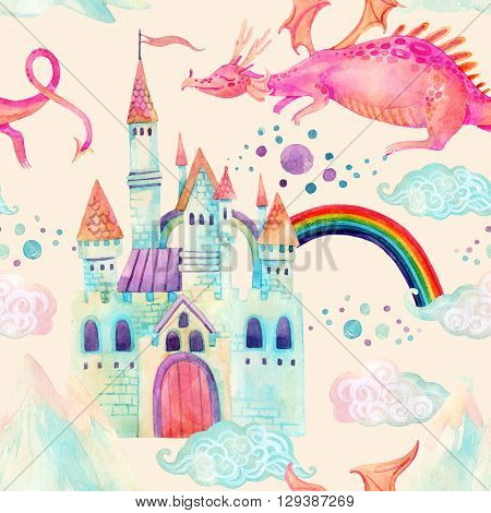 Watercolor fairy tale seamless pattern with cute dragon magic castle little princess crown mountains and fairy clouds on pastel background. Hand painted illustration for kids children design
