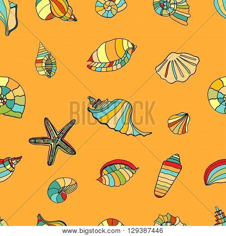 Hand drawn shell seamless background. Vector illustration image.