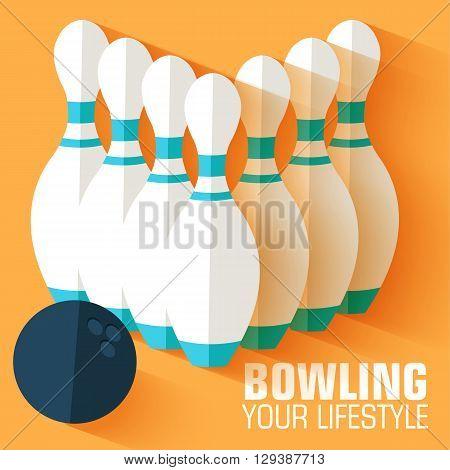 Flat Sport Bowling Background Concept. Vector Illustration Desig