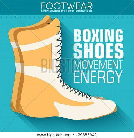 Flat Sport Boxing Shoes Background Concept. Vector Illustration