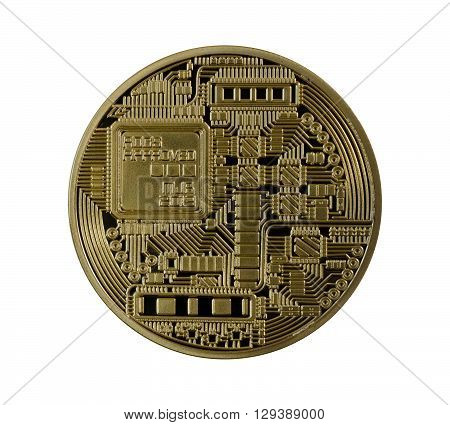 Golden Bitcoins (digital Virtual Money) Isolated