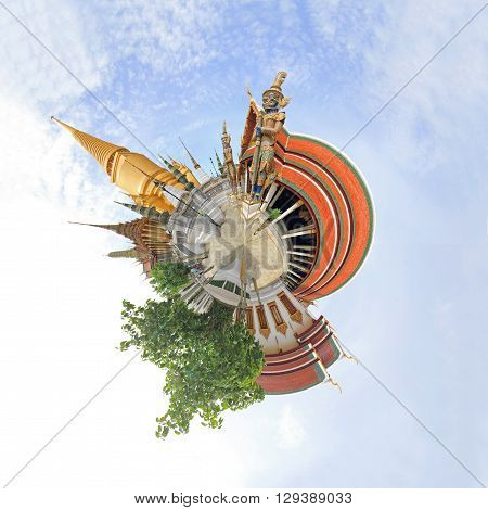 360 degree panorama WatPraKaew public landmark Thai Temple