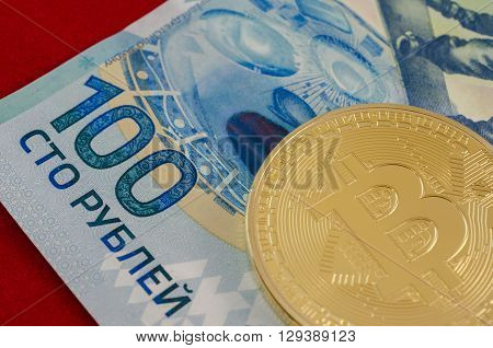 Golden Bitcoins (digital Virtual Money) And One Hundred Rubles