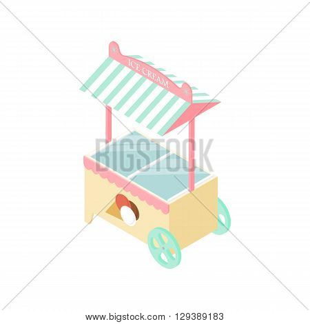 Ice cream kiosk in the isometric. Mobile tent. Delicious dessert. Store Goodies. A ball of ice cream in a waffle Cup. Fridge. Vector illustration.