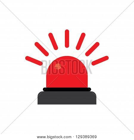 Police or ambulance red flasher siren logo. Flat style with line scatter rays.
