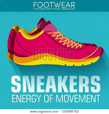 Flat Sport Sneakers Background Concept. Vector Illustration Desi